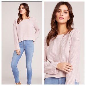 BB Dakota Chenille Blush Pink Button Sweater. New